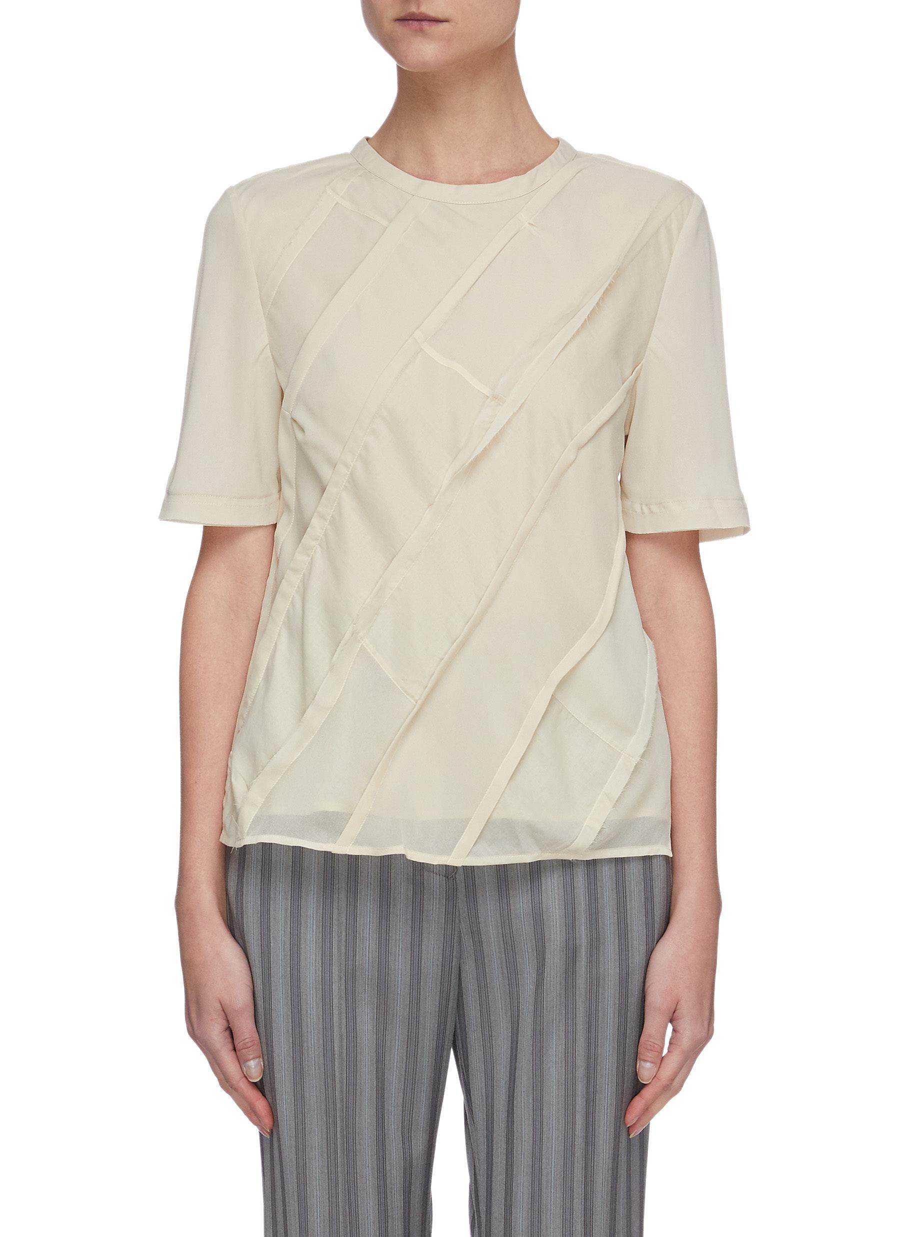 shop Acne Studios Bias-cut diagonal patchwork blouse online