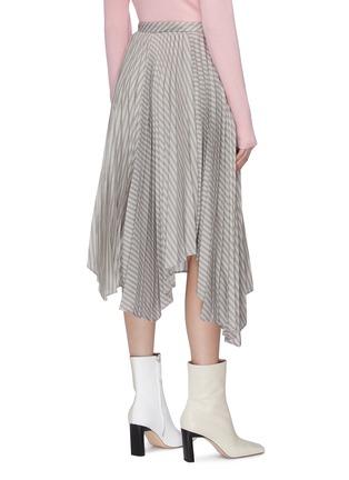 Back View - Click To Enlarge - ACNE STUDIOS - Stripe asymmetric pleated midi skirt