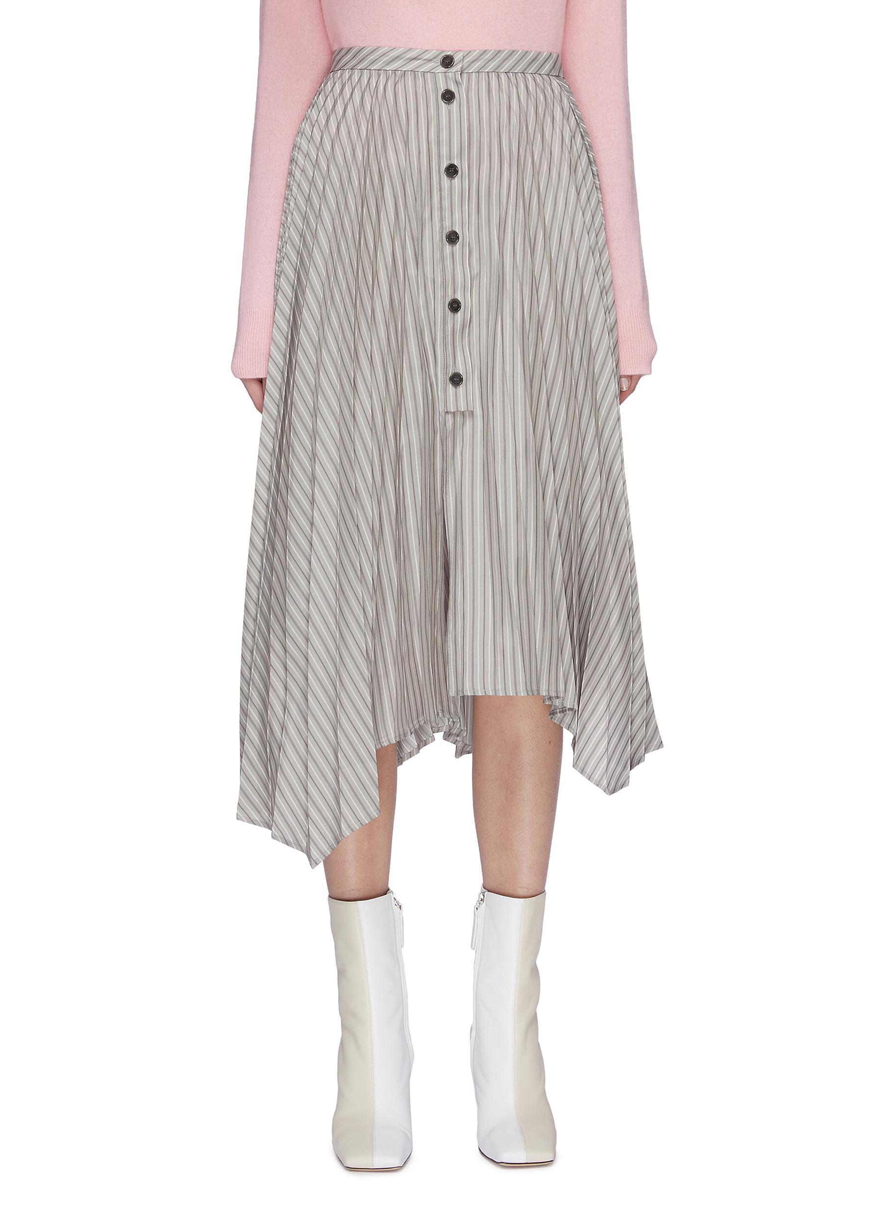 shop Acne Studios Stripe asymmetric pleated midi skirt online