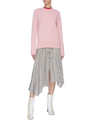 Figure View - Click To Enlarge - ACNE STUDIOS - Stripe asymmetric pleated midi skirt