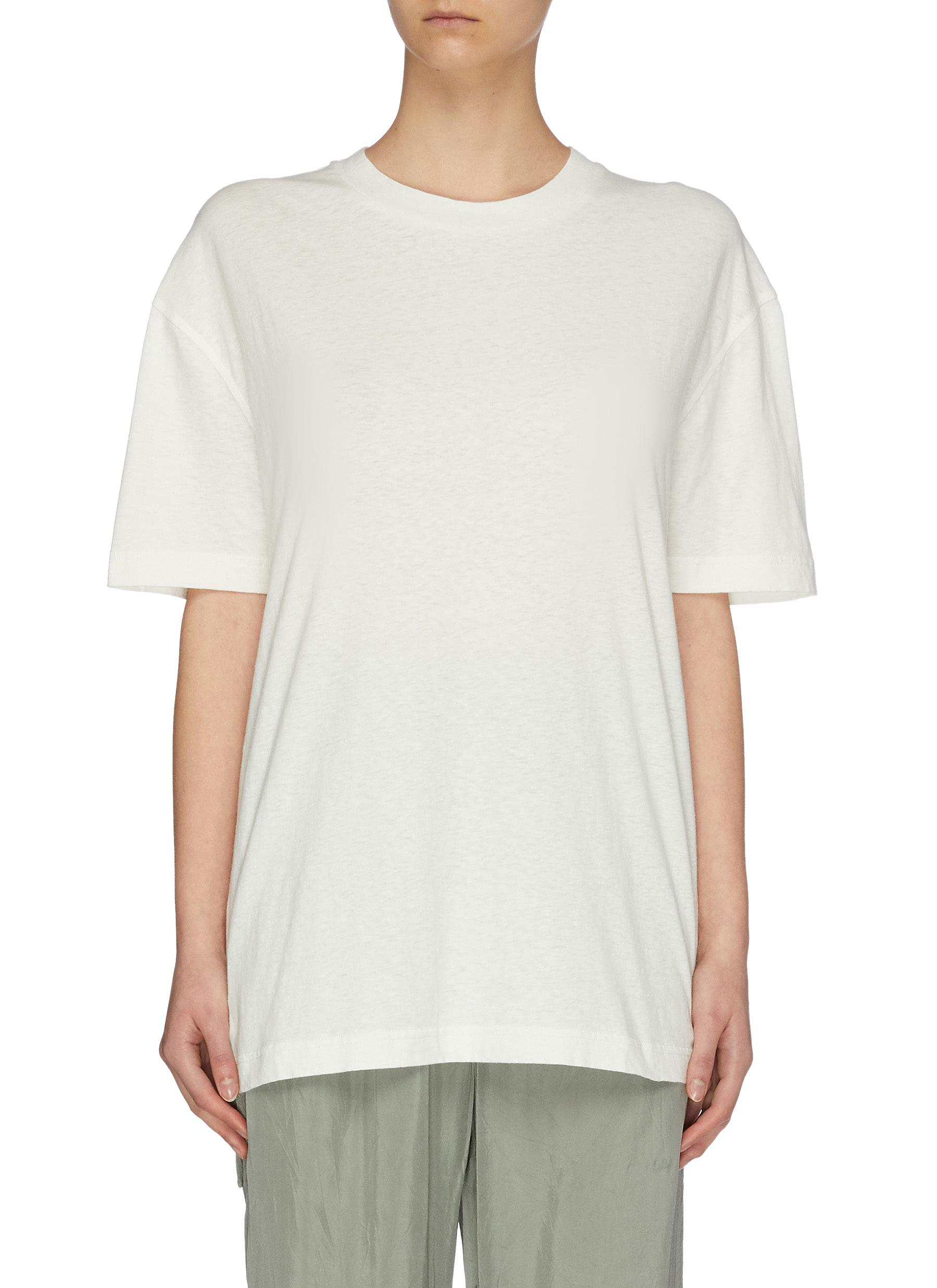 Buy Acne Studios Tops Label patch oversized cotton T-shirt