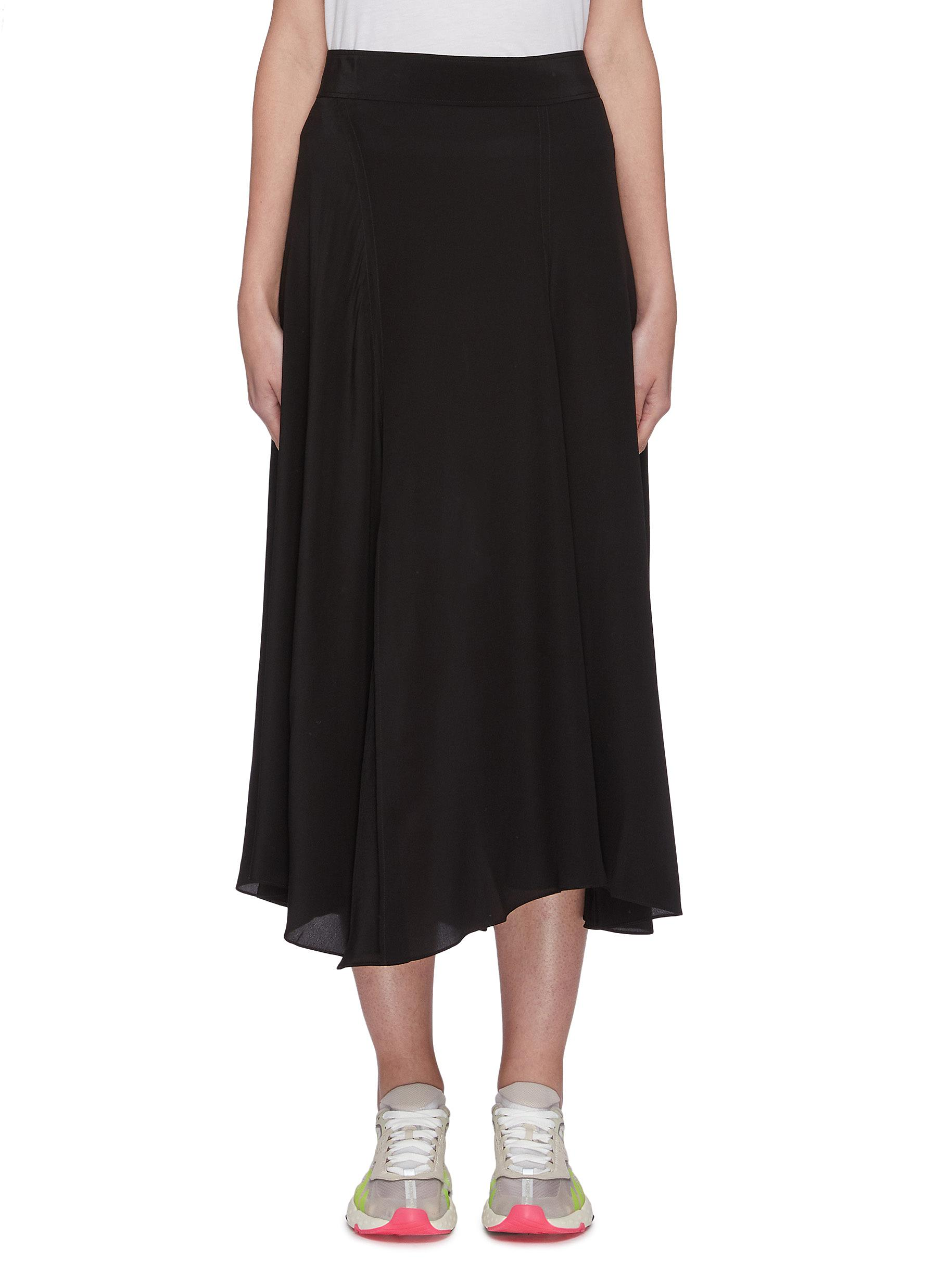 Buy Acne Studios Skirts Crepe asymmetric flare hem silk midi skirt