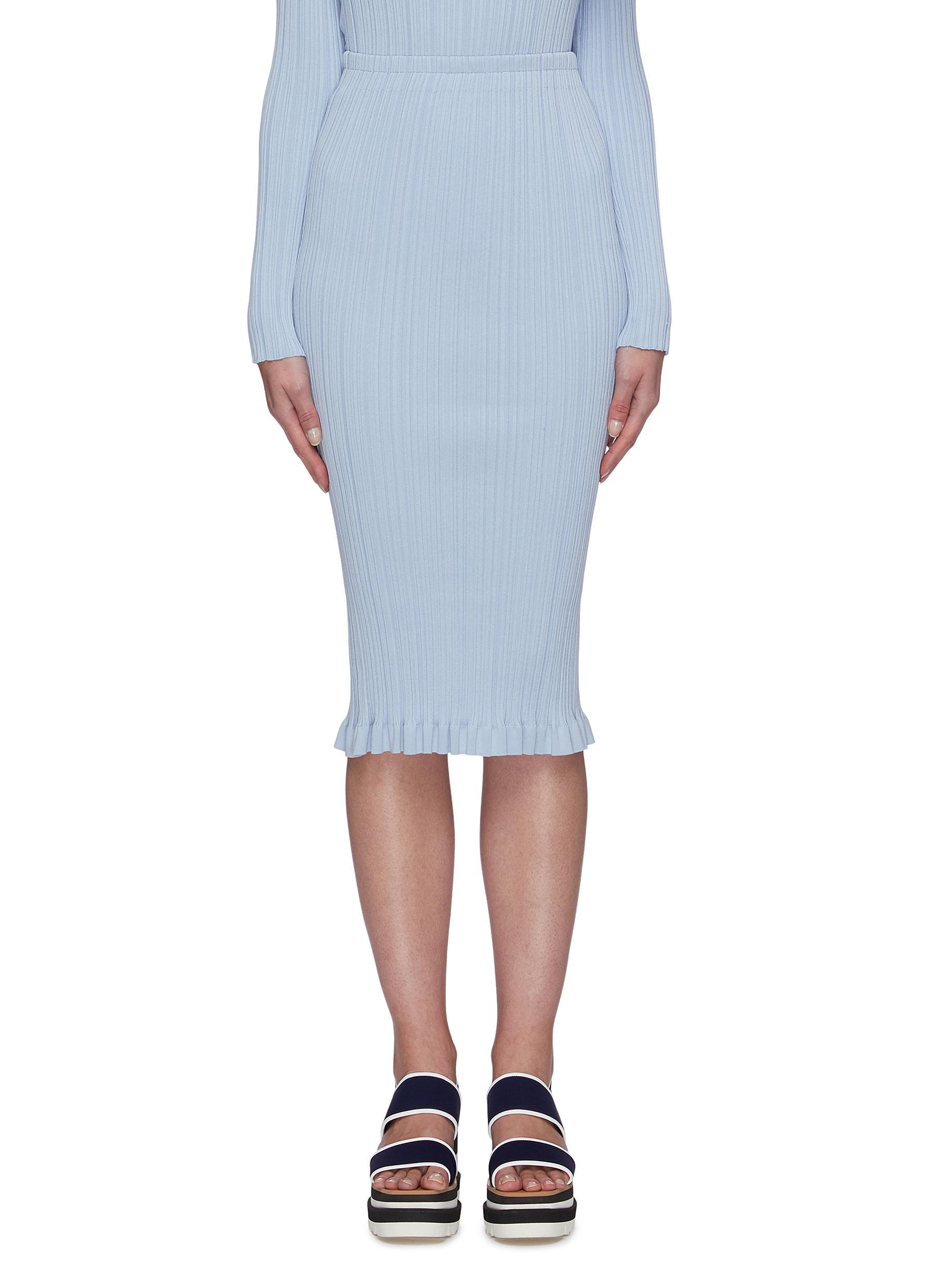 shop Acne Studios Irregular rib ruffled hem midi skirt online