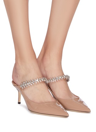 Figure View - Click To Enlarge - JIMMY CHOO - 'Bing 65' crystal strap patent leather pumps
