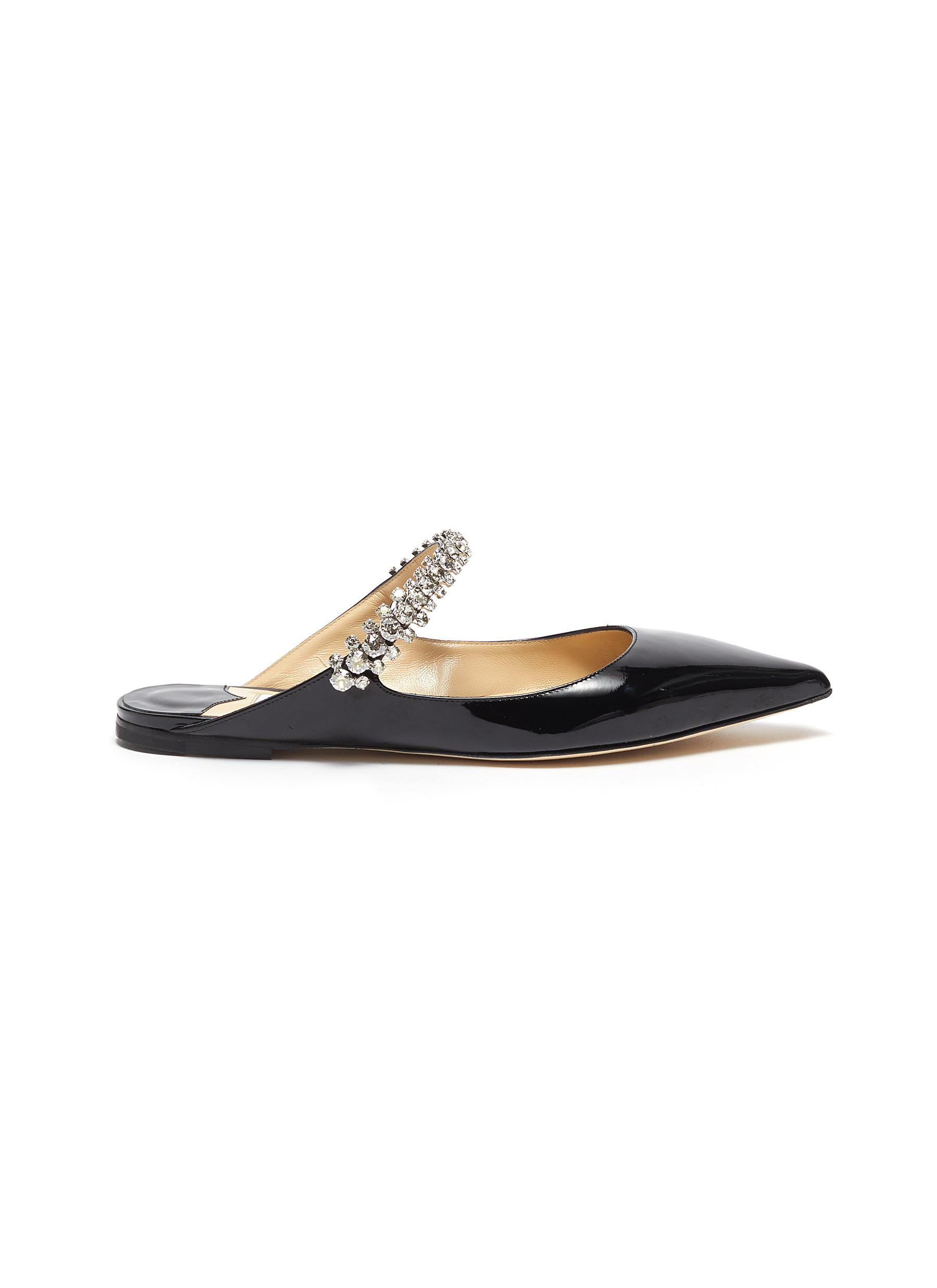 Jimmy Choo Flats Bing Flat crystal strap patent leather mules