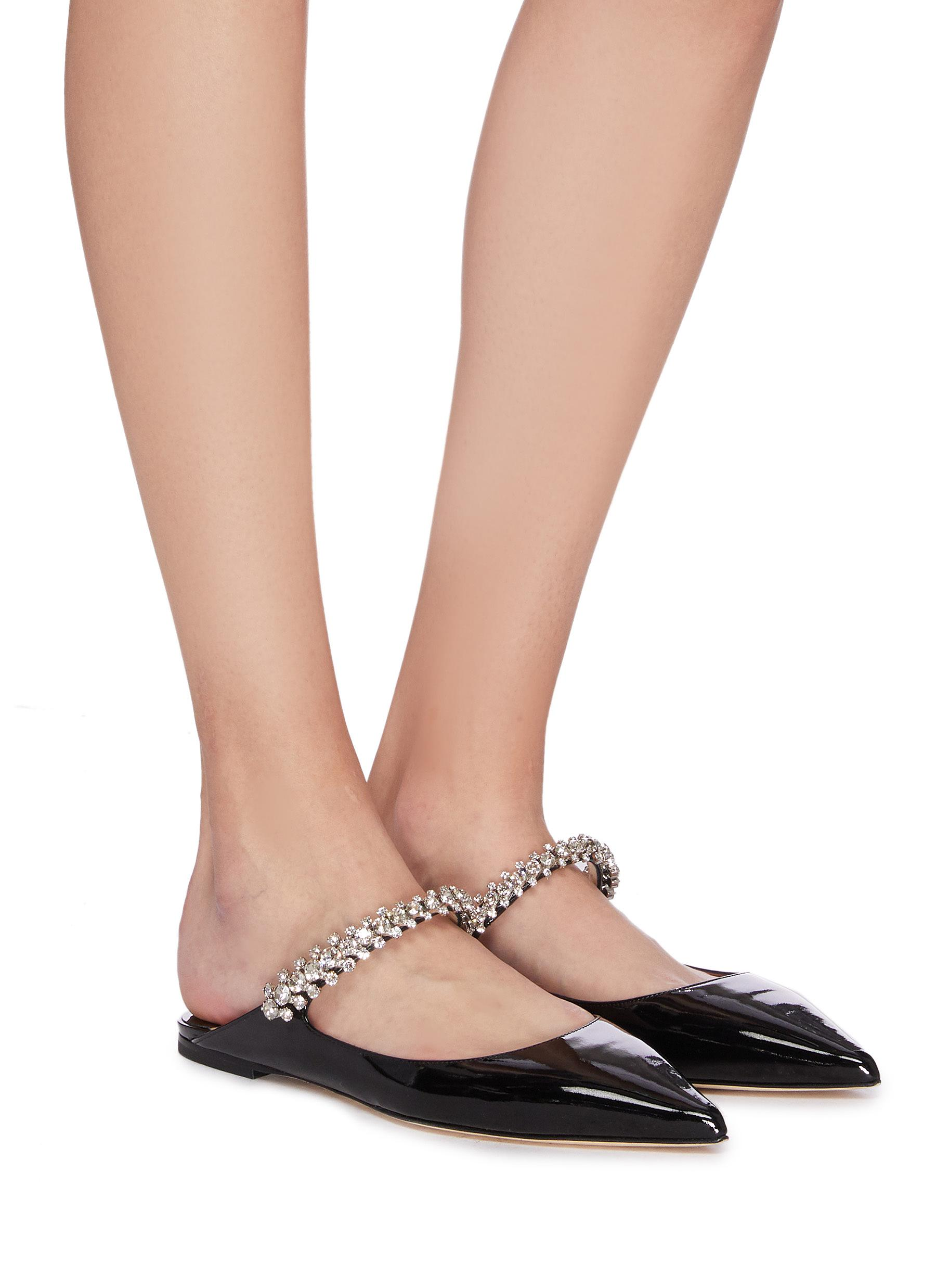Figure View - Click To Enlarge - JIMMY CHOO - 'Bing Flat' crystal strap patent leather mules