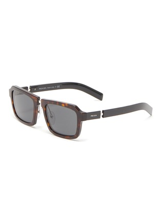 Main View - Click To Enlarge - PRADA - Tortoiseshell effect acetate frame bold temple square sunglasses
