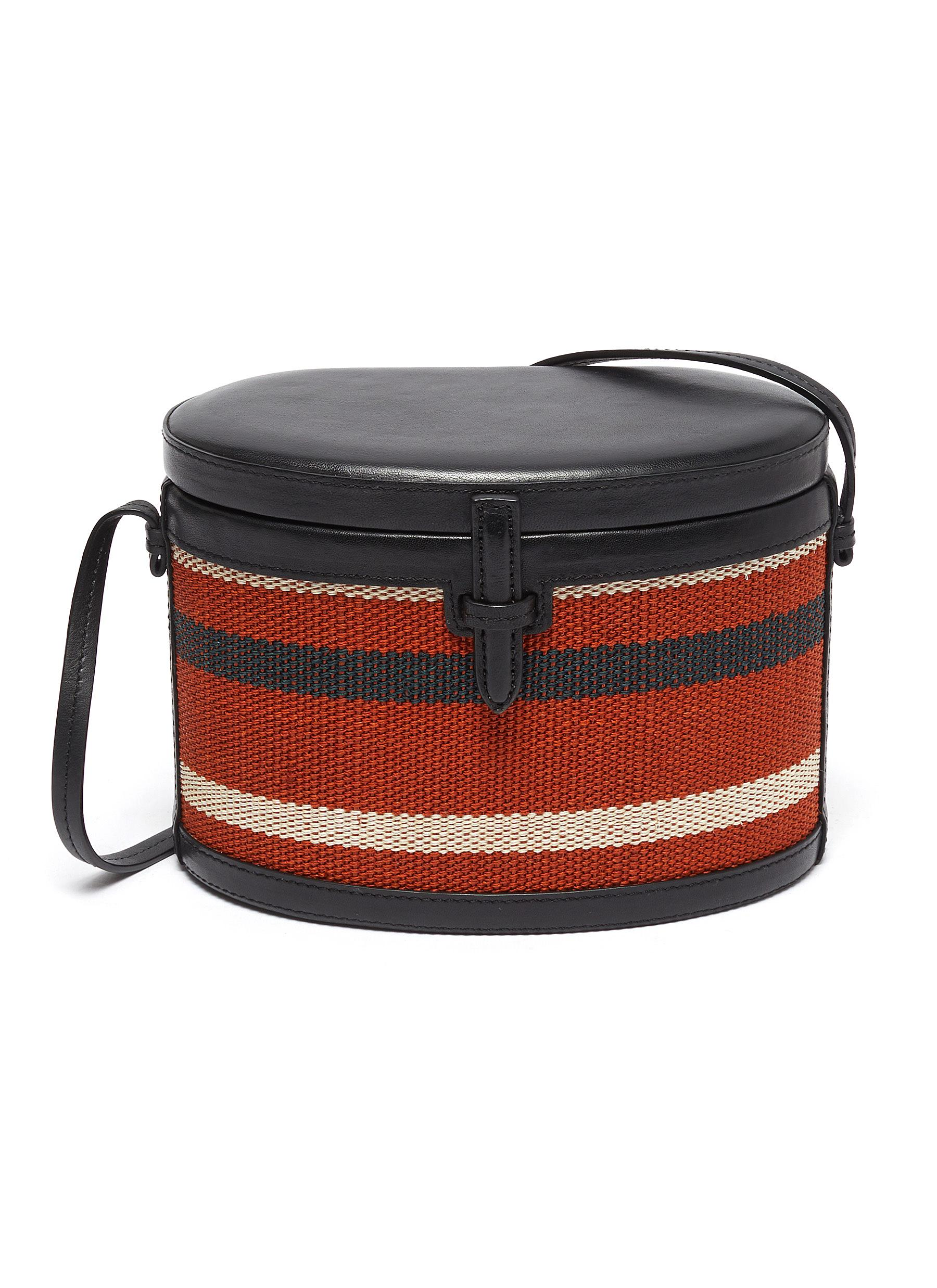 Hunting Season 'The Round Trunk' stripe leather shoulder bag