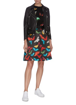 Figure View - Click To Enlarge - ALICE + OLIVIA - 'Earla' butterfly print flared skirt