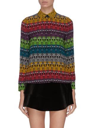 Main View - Click To Enlarge - ALICE + OLIVIA - 'Willa' mixed print colourblock shirt