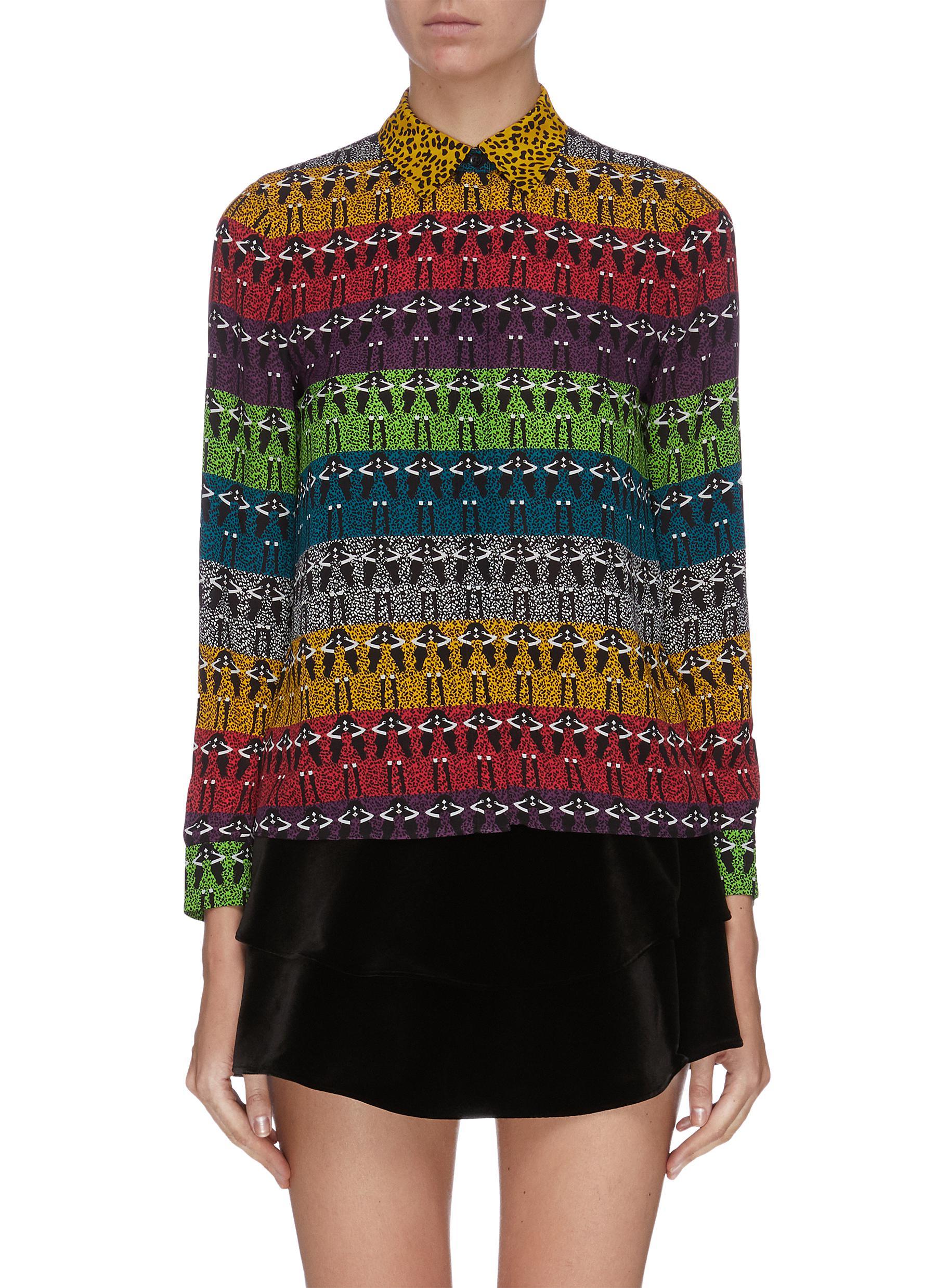 Buy Alice + Olivia Tops 'Willa' mixed print colourblock shirt