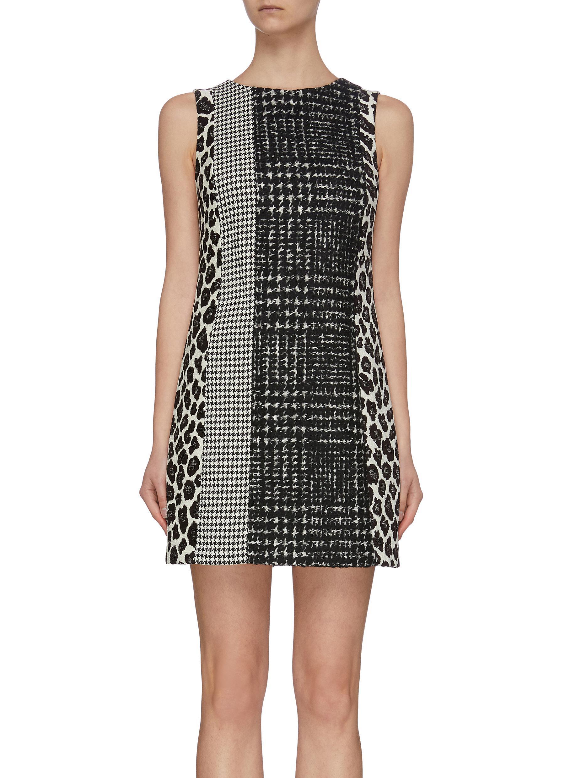 shop Alice + Olivia 'Clyde' patchwork wool blend shift dress online