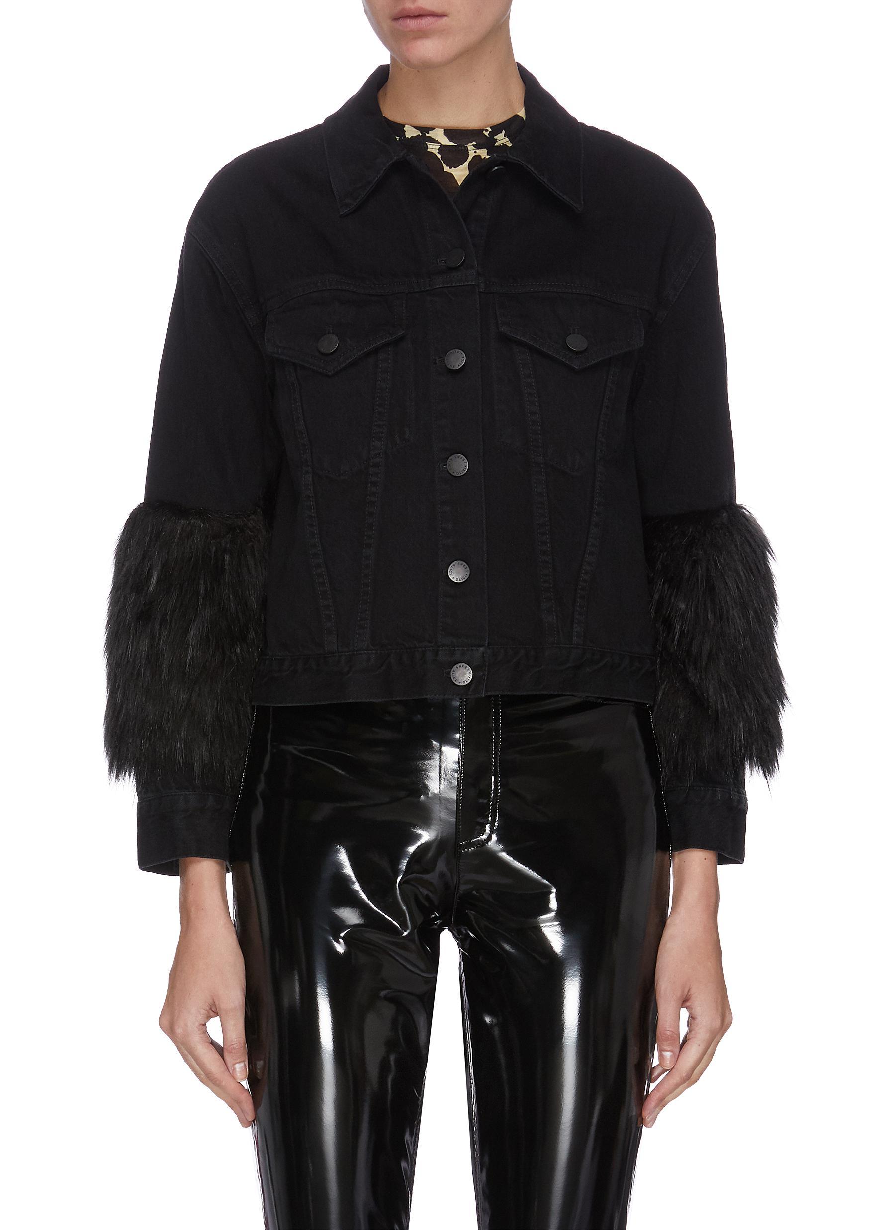shop Alice + Olivia Faux fur sleeve cropped denim jacket online