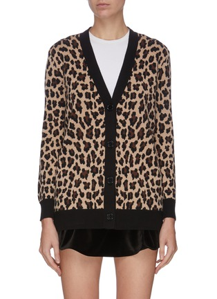 Main View - Click To Enlarge - ALICE + OLIVIA - Contrast hem leopard print cardigan