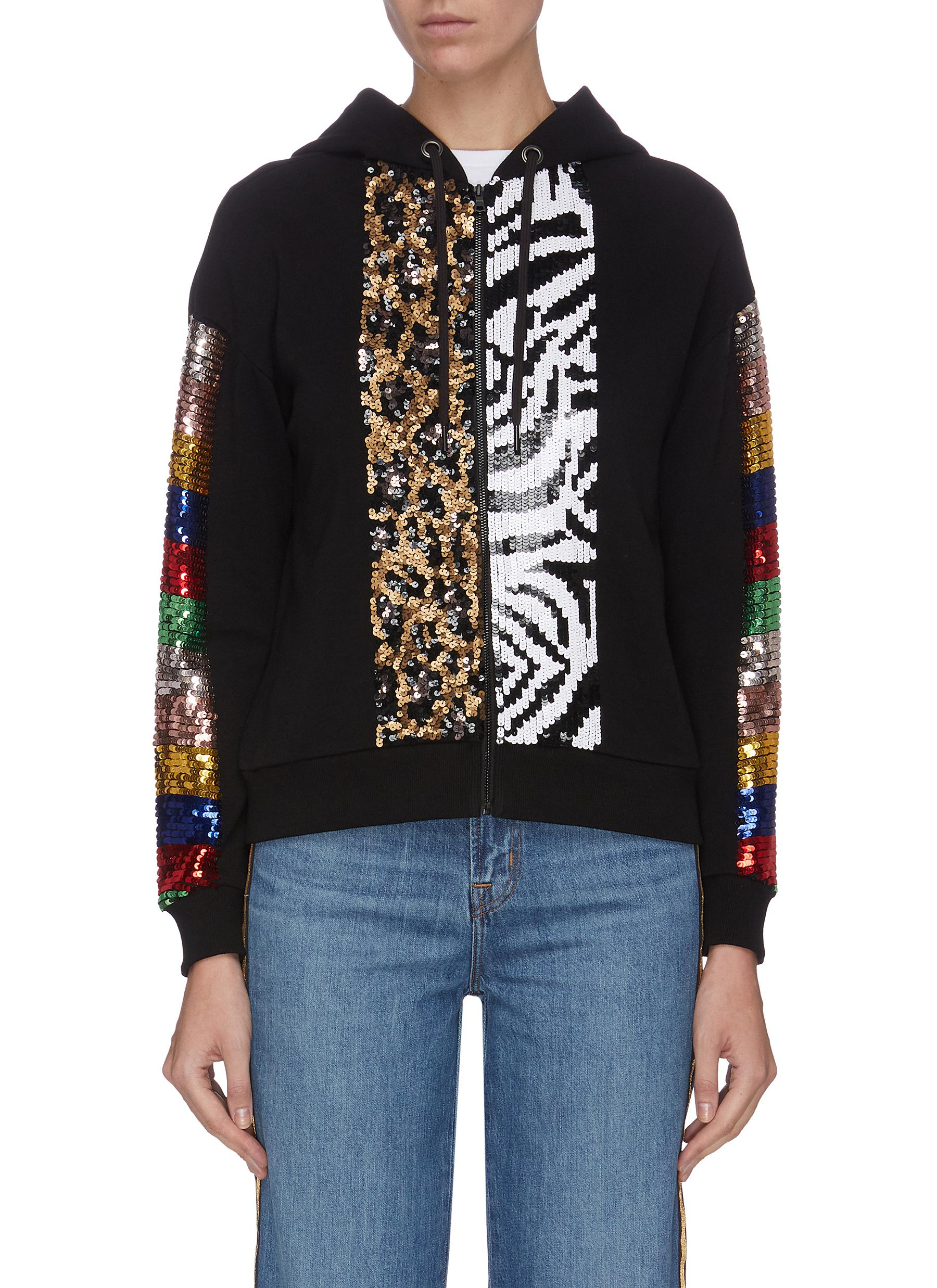 shop Alice + Olivia Contrast animal print sequin panelled zip hoodie online
