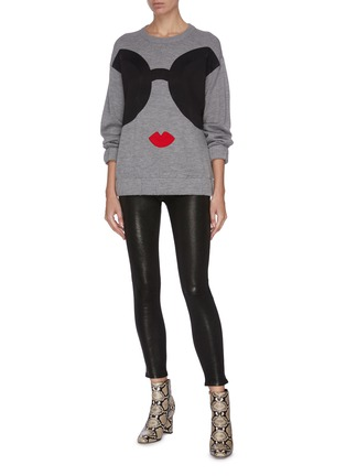 Figure View - Click To Enlarge - ALICE + OLIVIA - Colourblock graphic print sweater