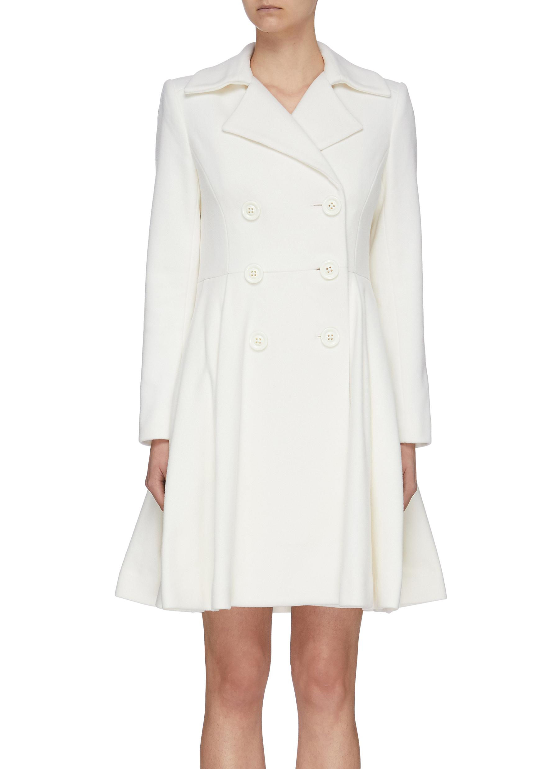 shop Alice + Olivia 'Leila' double breast pleated flare hem coat online