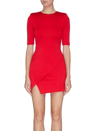Main View - Click To Enlarge - ALICE + OLIVIA - Asymmetric mock wrap dress