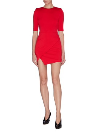 Figure View - Click To Enlarge - ALICE + OLIVIA - Asymmetric mock wrap dress