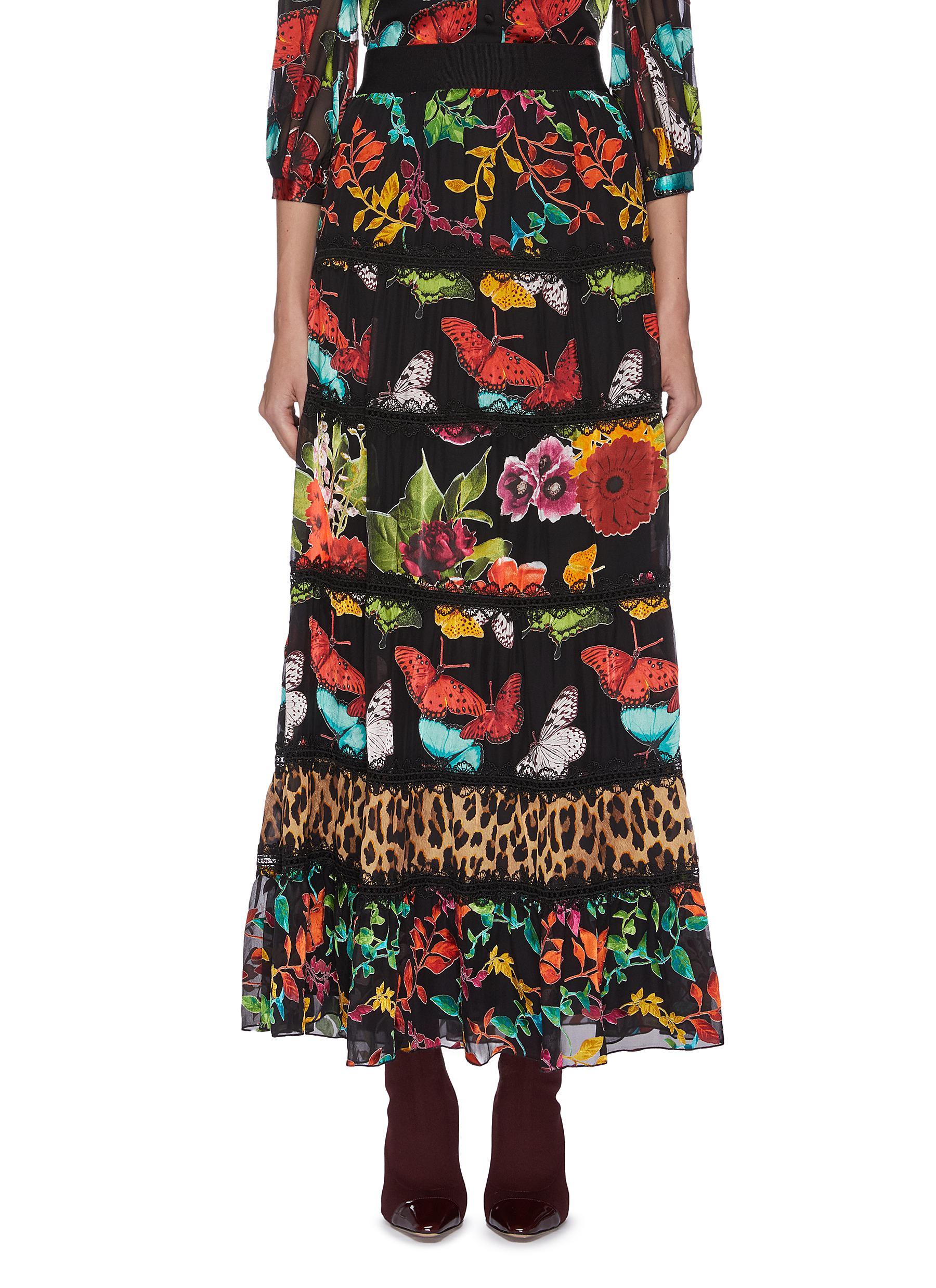 shop Alice + Olivia Lesa' panelled maxi skirt online