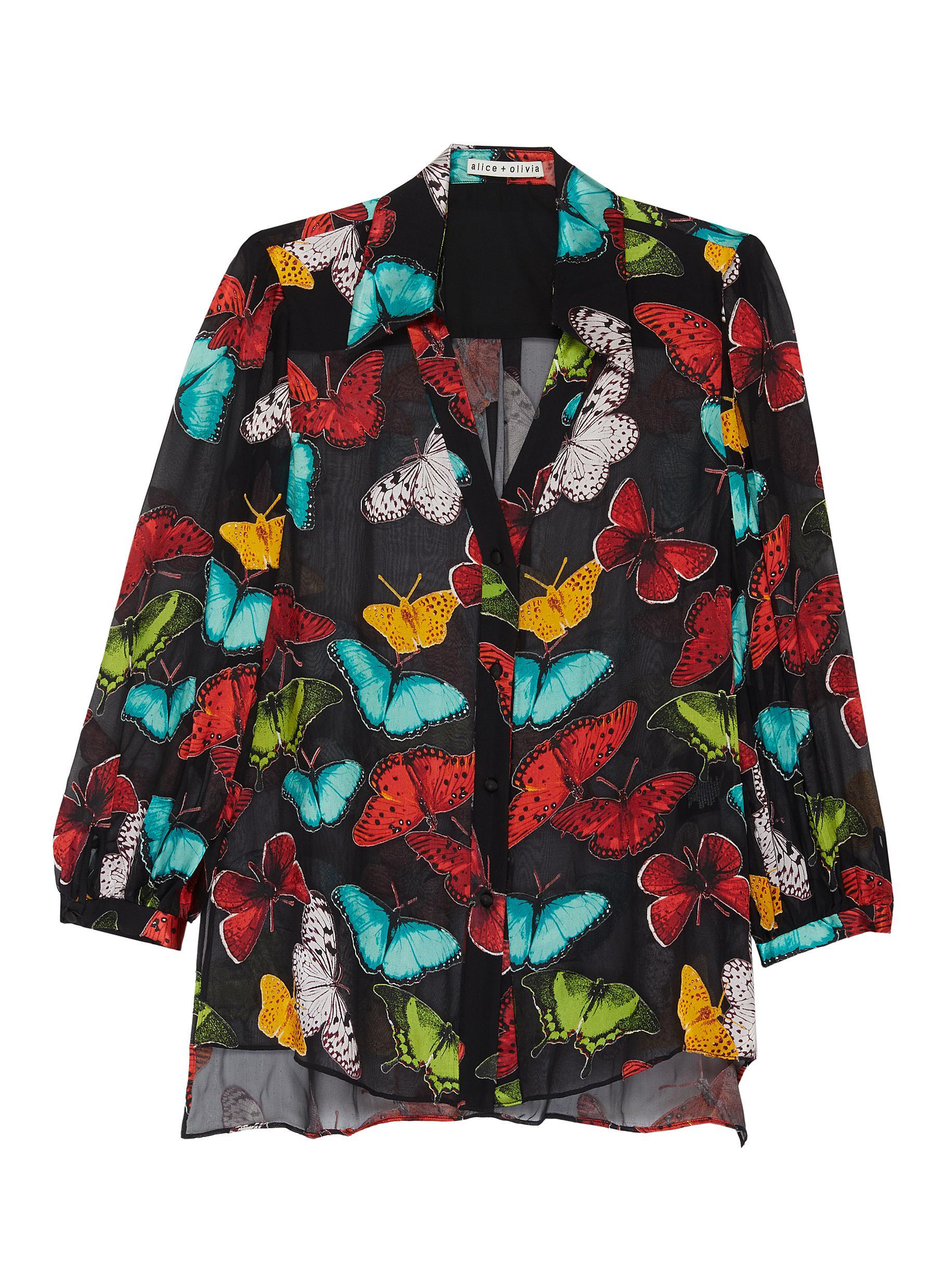shop Alice + Olivia 'Sheila' blouson button up top online