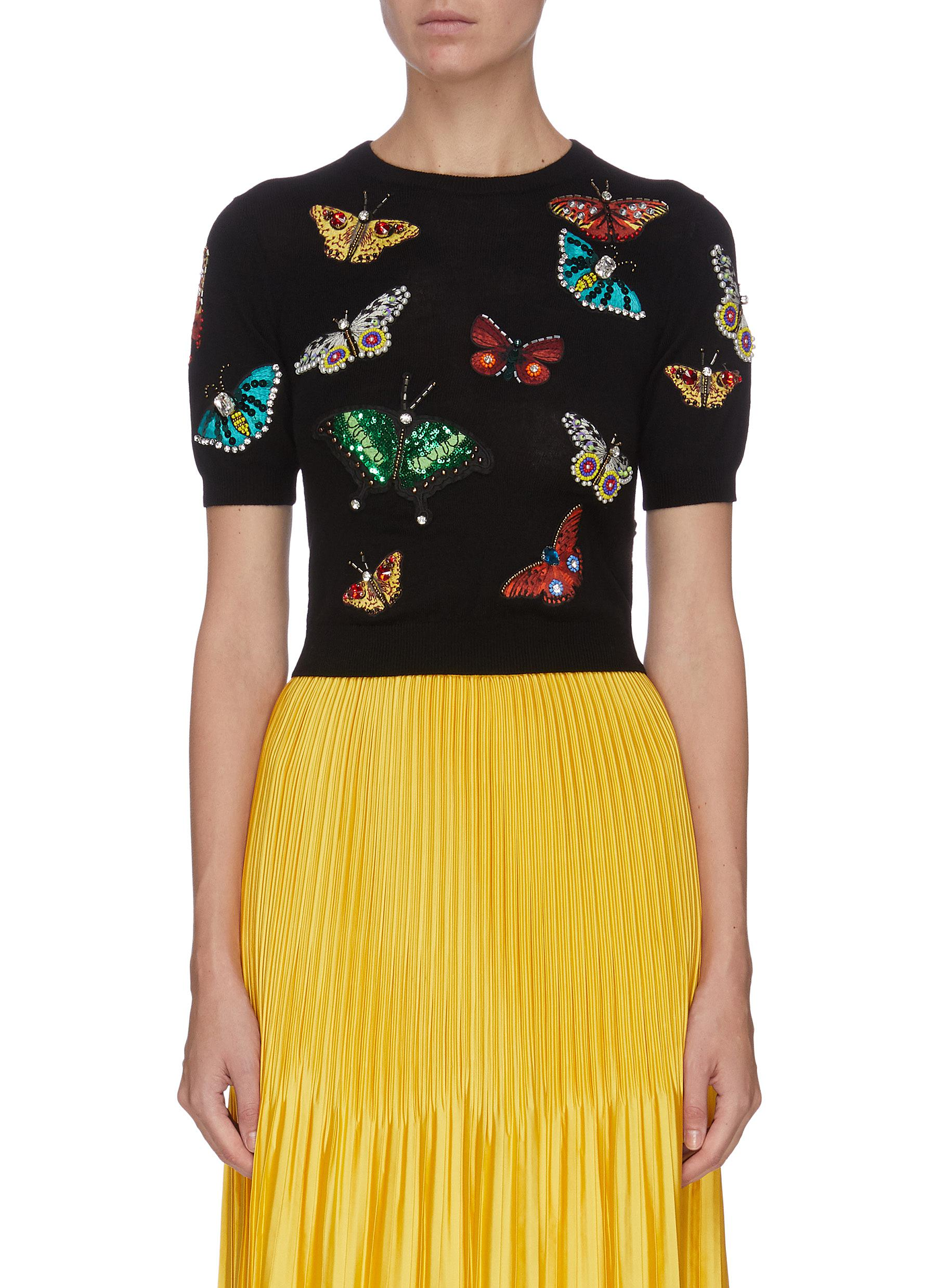 Buy Alice + Olivia Knitwear 'Ciara' butterfly embroidered wool pullover