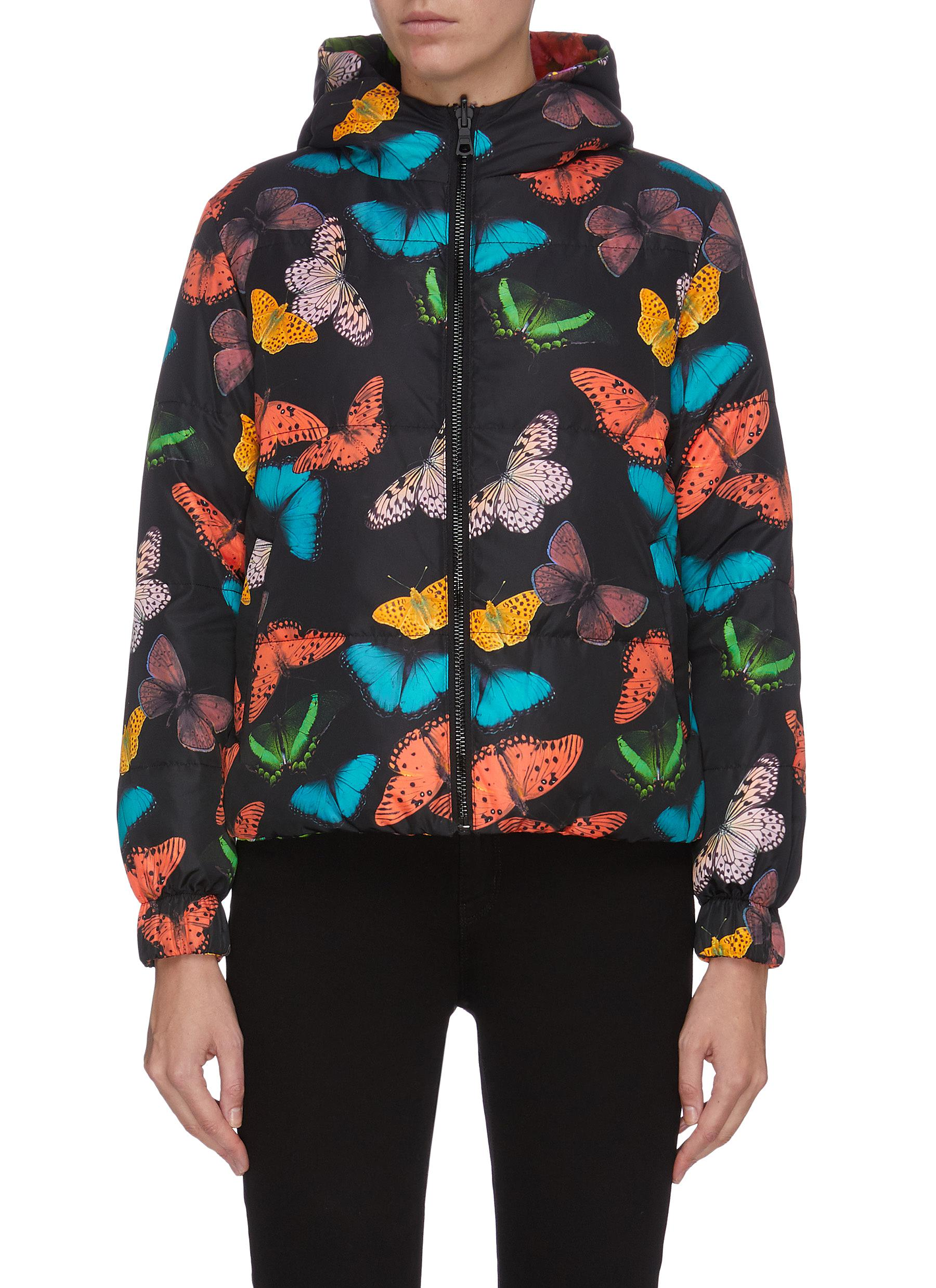 shop Alice + Olivia 'Durham' butterfly print reversible hooded puffer jacket online