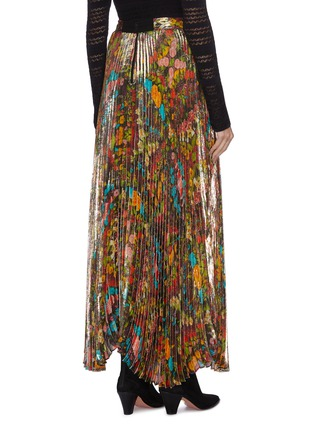 Back View - Click To Enlarge - ALICE + OLIVIA - 'Katz' pleated floral-print metallic maxi skirt