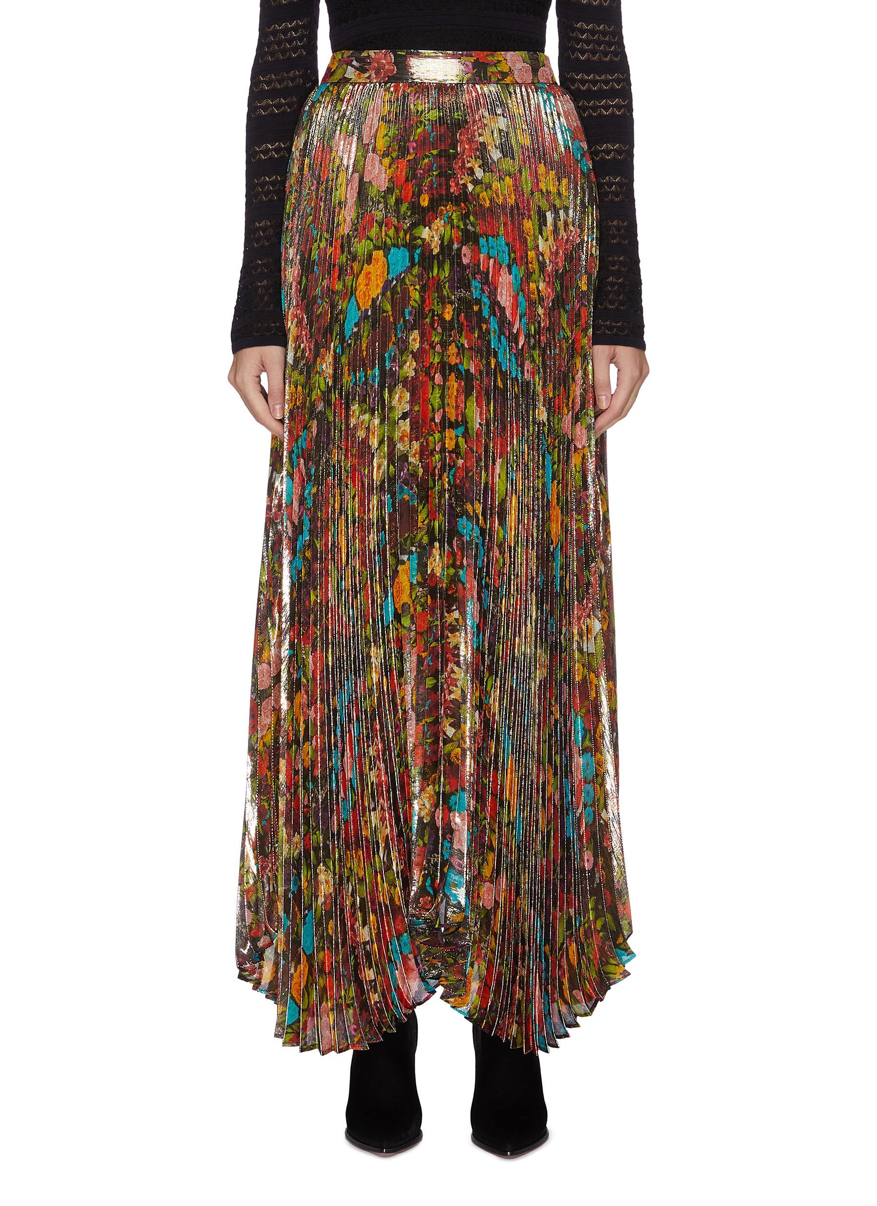 Buy Alice + Olivia Skirts 'Katz' pleated floral-print metallic maxi skirt