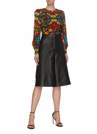 Figure View - Click To Enlarge - ALICE + OLIVIA - 'Quilla' puff shoulder floral silk top