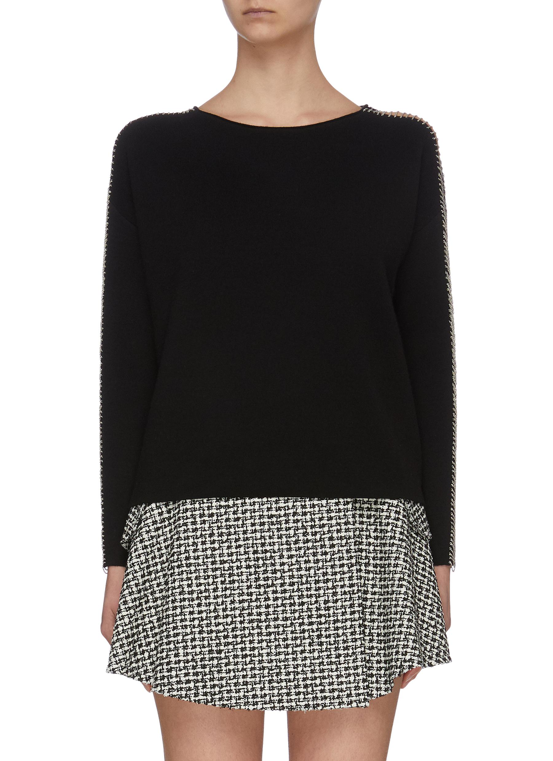 shop Alice + Olivia 'Marmont' shoulder slit chain embellished sweater online
