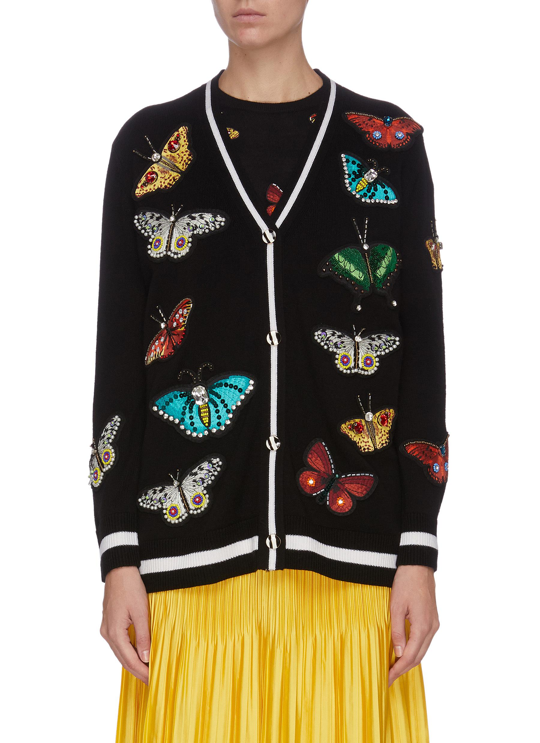 Buy Alice + Olivia Knitwear 'Bradford' butterfly embroidered grandpa cardigan