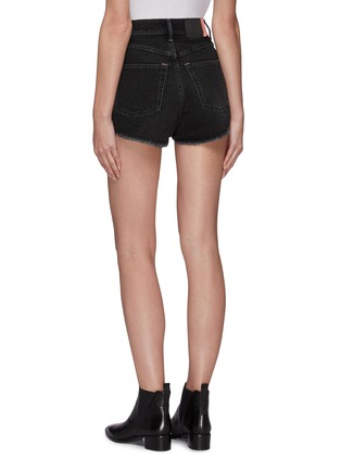 Back View - Click To Enlarge - ACNE STUDIOS - Vintage black wash raw hem mini denim shorts