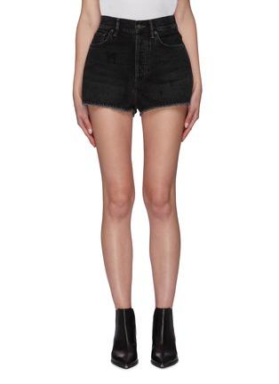 Main View - Click To Enlarge - ACNE STUDIOS - Vintage black wash raw hem mini denim shorts