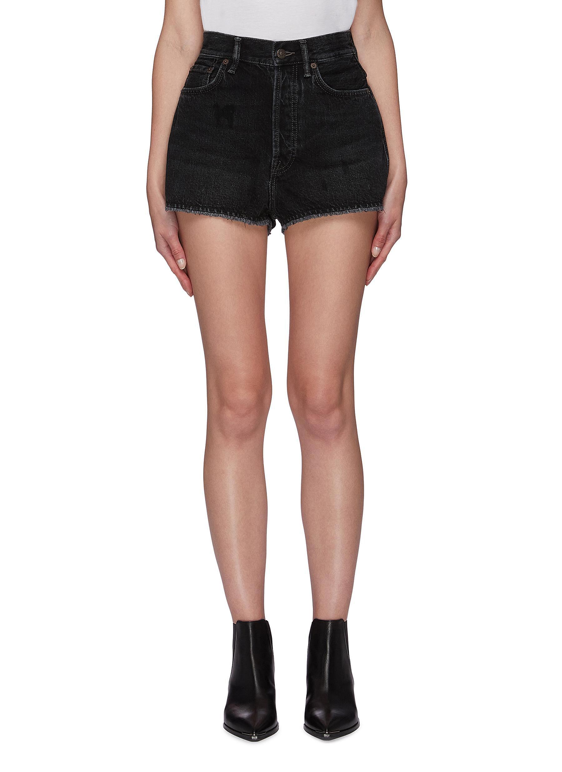 shop Acne Studios Vintage black wash raw hem mini denim shorts online