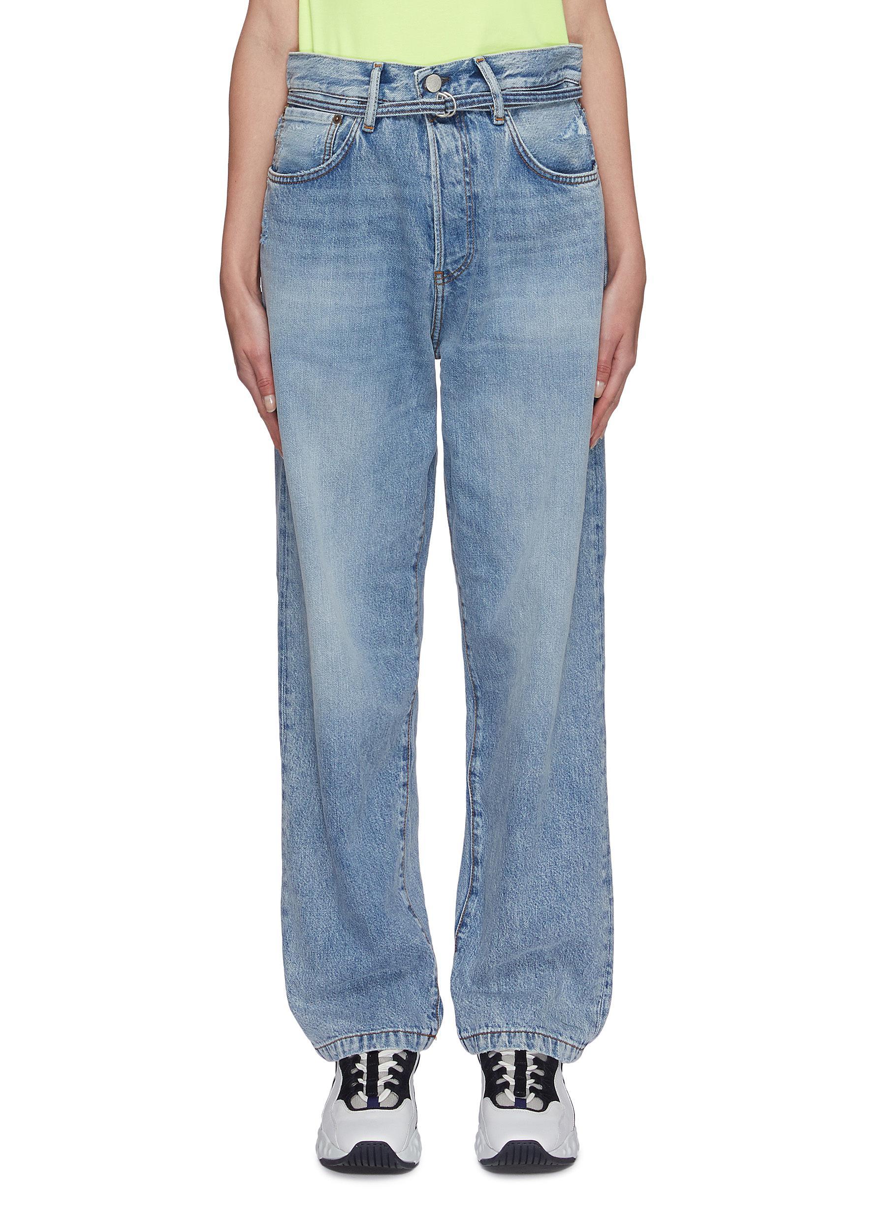shop Acne Studios Light trash wash belted boyfriend jeans online