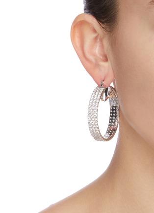 Figure View - Click To Enlarge - CZ BY KENNETH JAY LANE - 'Triple Round' Zirconia hoop earrings