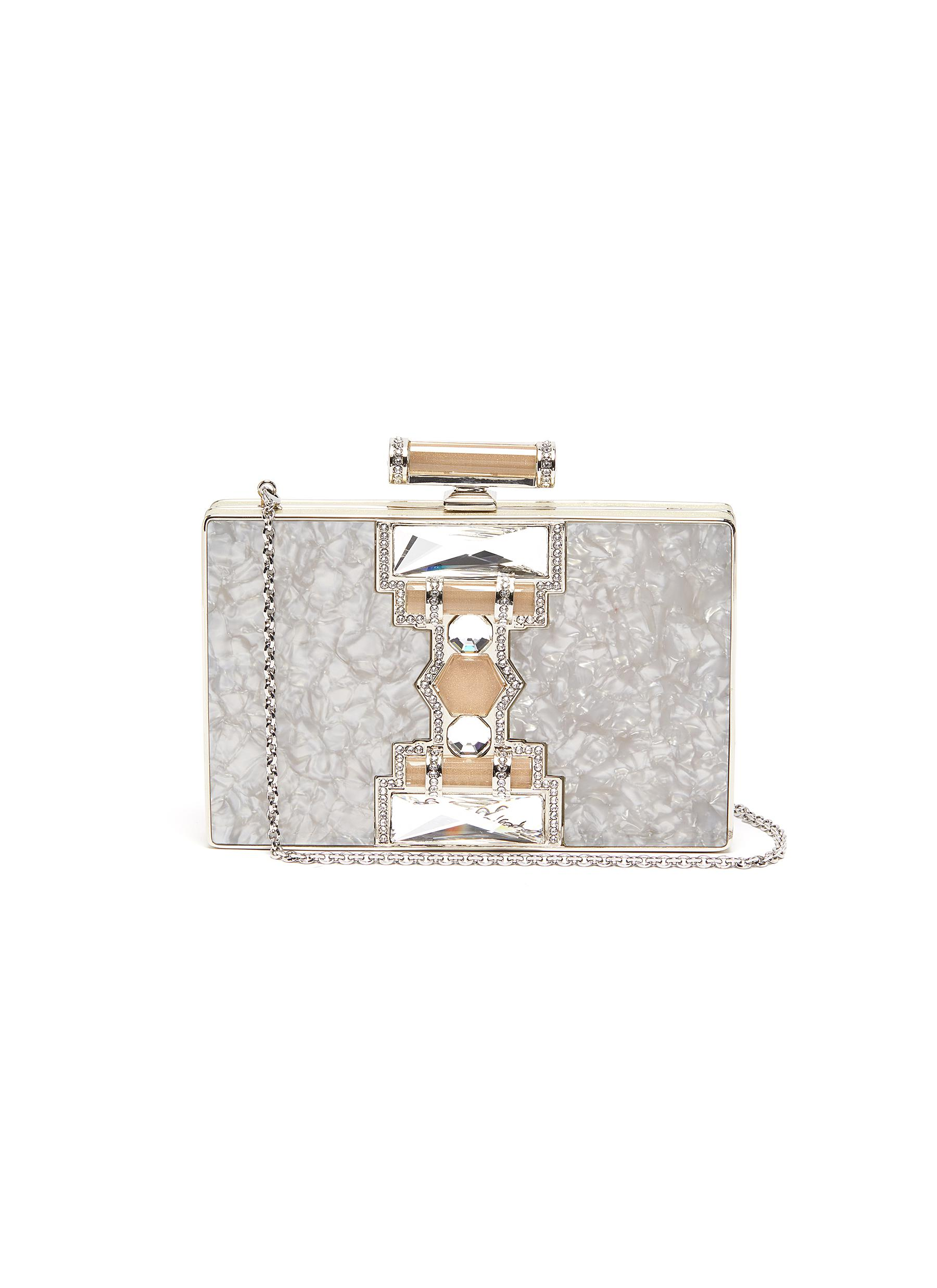 'Jazz Age' marble print crystal embellished box clutch