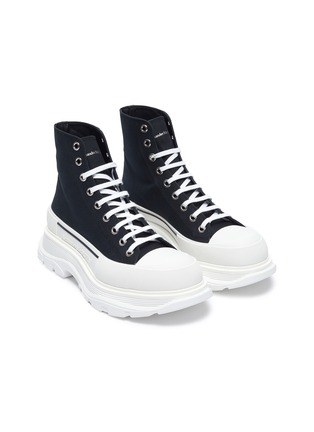 Detail View - Click To Enlarge - ALEXANDER MCQUEEN - 'Tread' contrast sole canvas high top sneakers