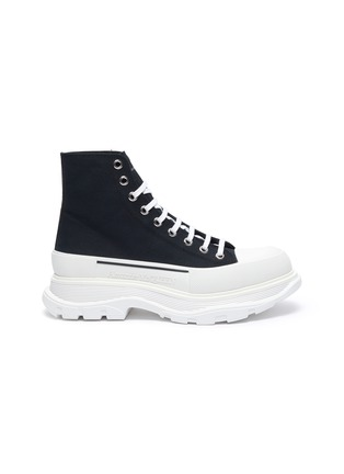 Main View - Click To Enlarge - ALEXANDER MCQUEEN - 'Tread' contrast sole canvas high top sneakers