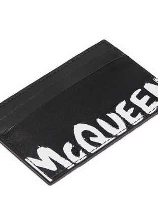 Detail View - Click To Enlarge - ALEXANDER MCQUEEN - 'Graffiti' logo print leather  cardholder