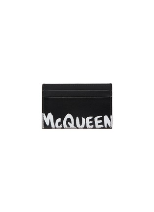 Main View - Click To Enlarge - ALEXANDER MCQUEEN - 'Graffiti' logo print leather  cardholder