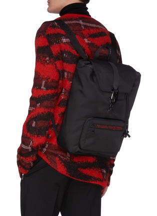 Figure View - Click To Enlarge - ALEXANDER MCQUEEN - 'Urban' logo embroidered nylon backpack