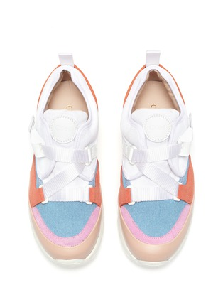 Detail View - Click To Enlarge - CHLOÉ - Criss cross strap buckle kids sneakers