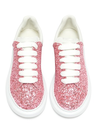 Figure View - Click To Enlarge - ALEXANDER MCQUEEN - Glitter leather kids sneakers