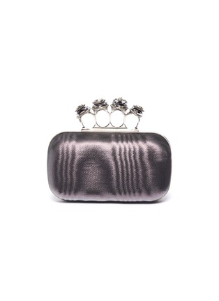 Main View - Click To Enlarge - ALEXANDER MCQUEEN - Jewelled moire satin knuckle clutch