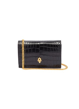 Main View - Click To Enlarge - ALEXANDER MCQUEEN - Croc embossed leather crossbody bag