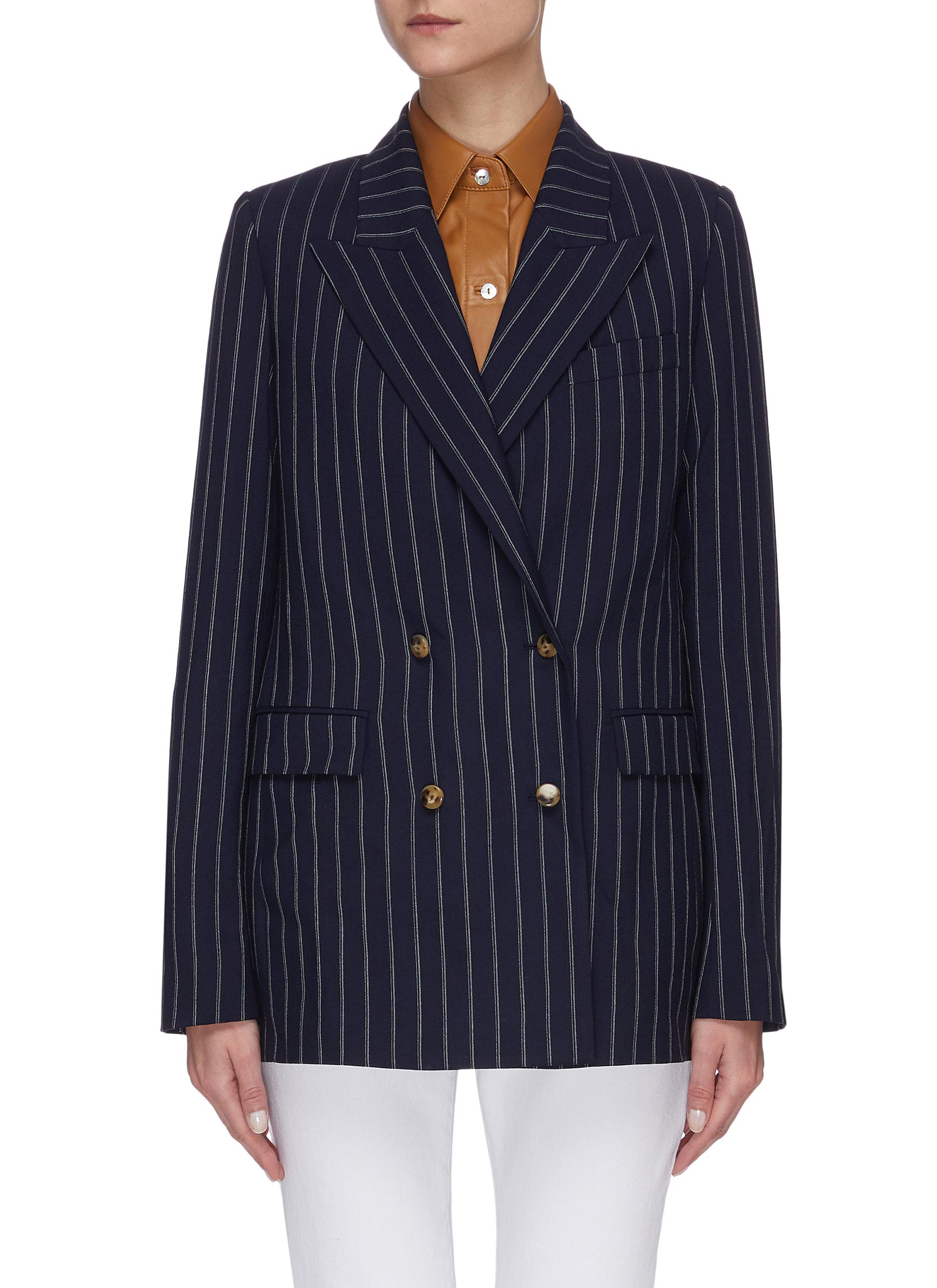shop Equil Pinstripe double breasted blazer online