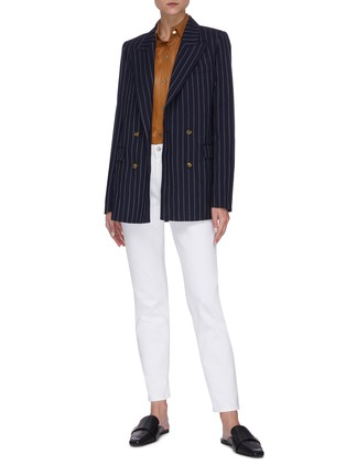 Figure View - Click To Enlarge - EQUIL - Pinstripe double breasted blazer