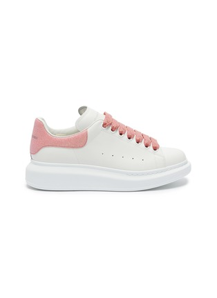 Main View - Click To Enlarge - ALEXANDER MCQUEEN - 'Larry' magnolia print fine glitter oversized sneakers